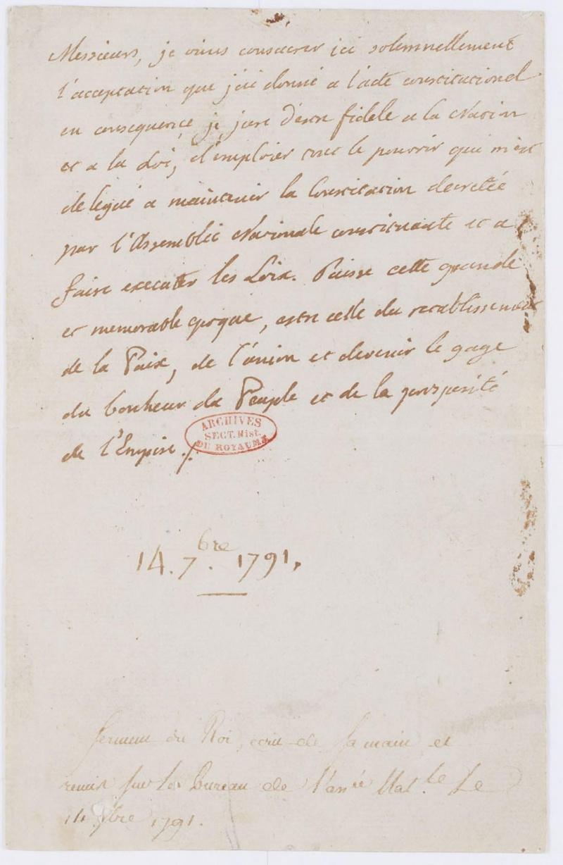 Lettres autographes et écrits de Louis XVI Dafanc68