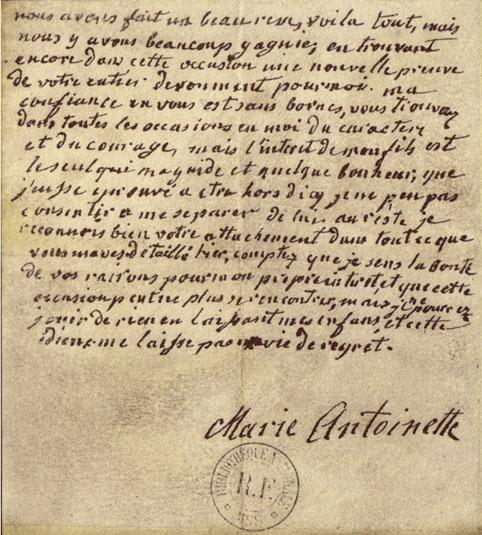 Les citations célèbres de Marie-Antoinette - Page 2 Lettre10