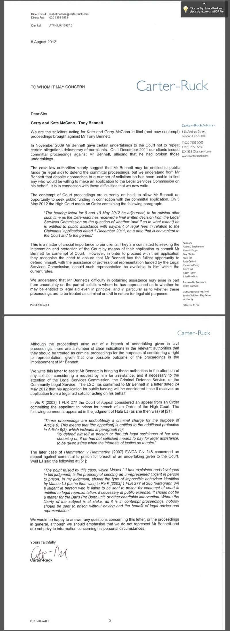 Legal Services Commission's blunder re Legal Aid - The actual letter ++PLUS++ Carter-Ruck's 'To Whom it May Concern' Letter Cr_let11