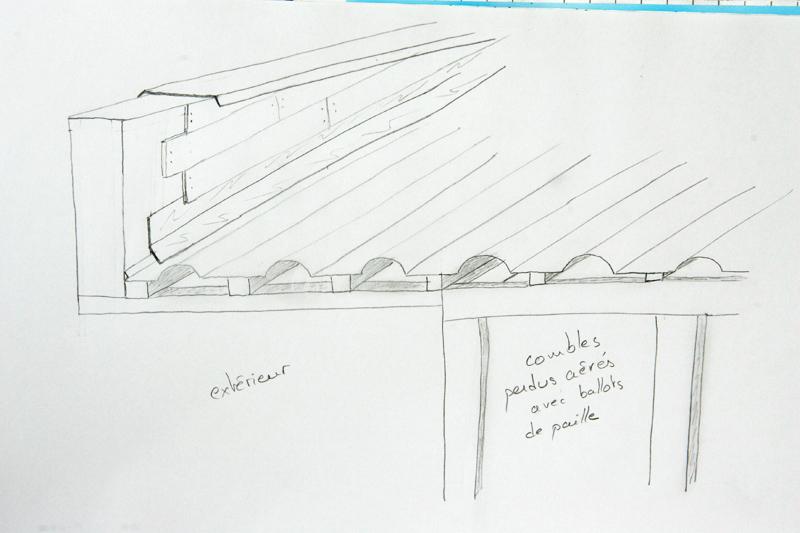 isolation toiture en paille en combles perdus Acrote11