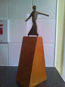 1970's? modern art? bronze figure on wooden base, Scandinavian? Image211