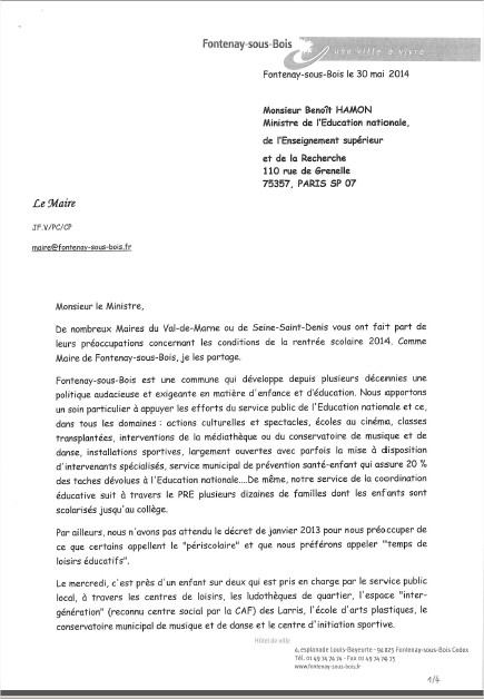 Le Maire écrit au Ministre de l'Education Nationale Lettre10