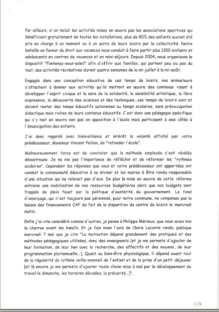 Le Maire écrit au Ministre de l'Education Nationale Lettre11