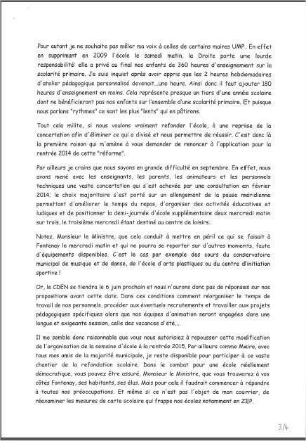 Le Maire écrit au Ministre de l'Education Nationale Lettre12