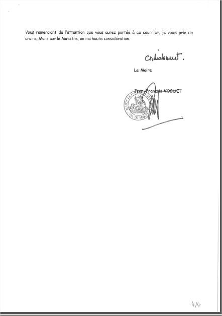 Le Maire écrit au Ministre de l'Education Nationale Lettre13