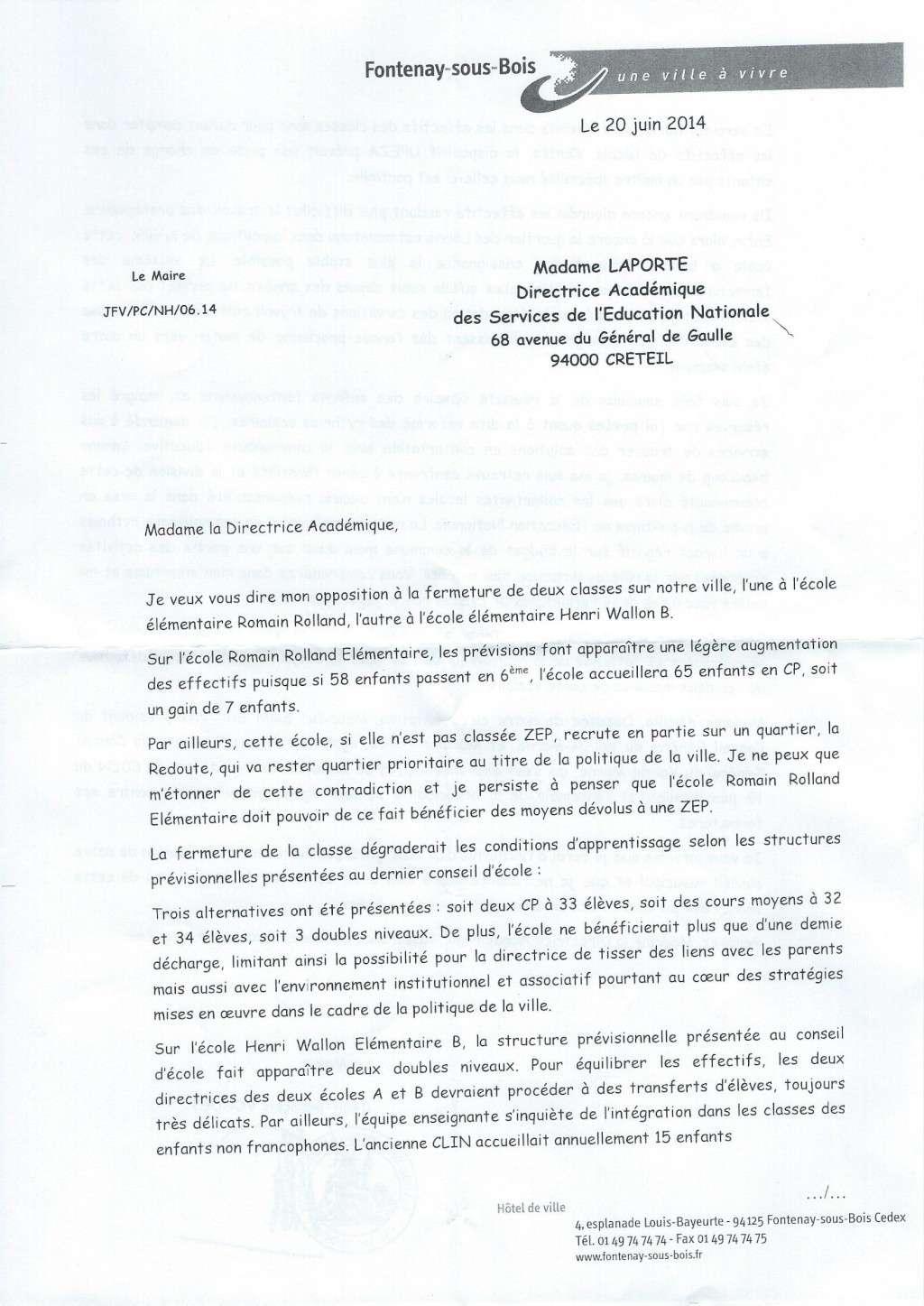 Ecole publique -  Le Maire écrit à l'Inspectrice d'Académie (DASEN) Lettre14