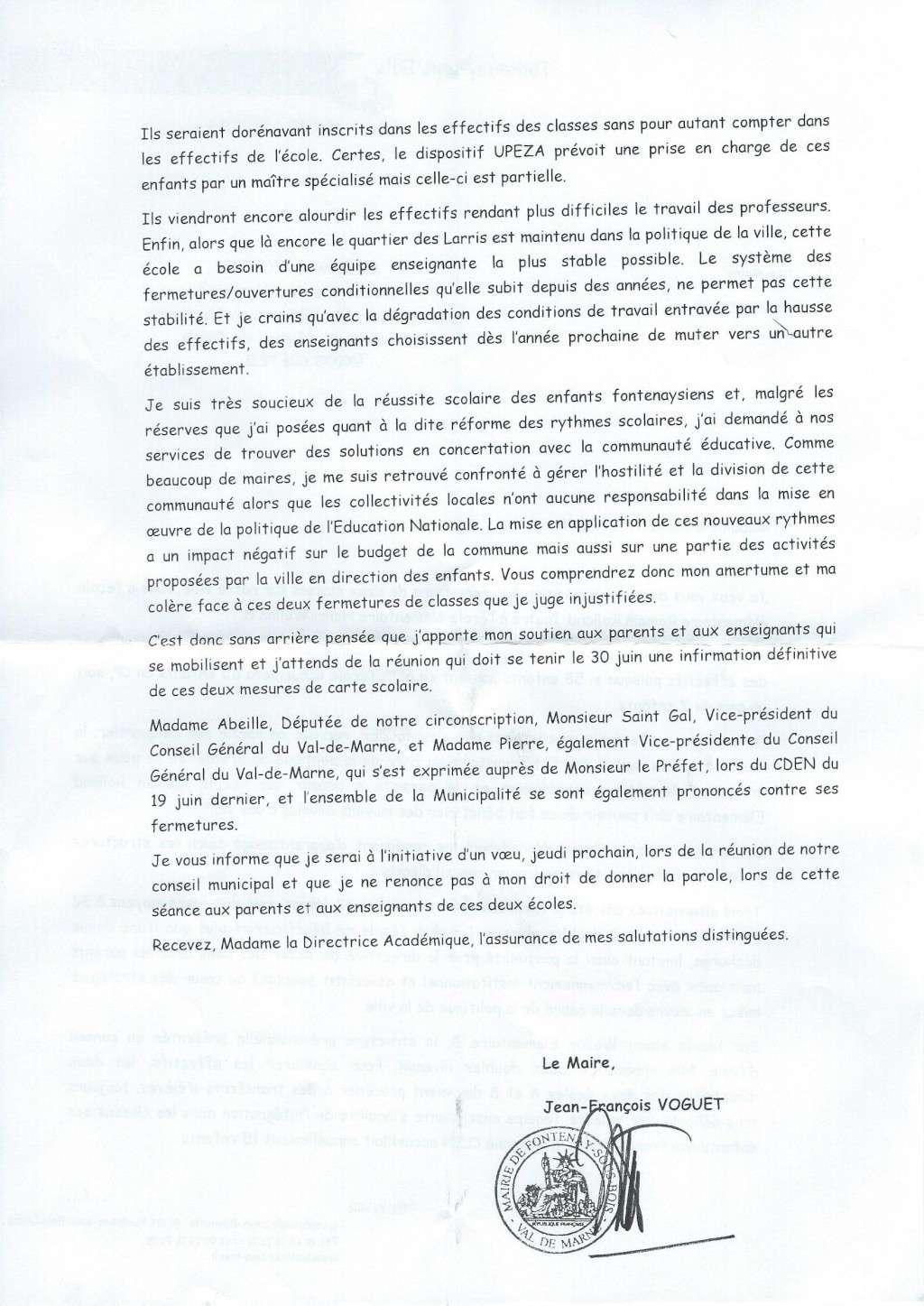 Ecole publique -  Le Maire écrit à l'Inspectrice d'Académie (DASEN) Lettre15