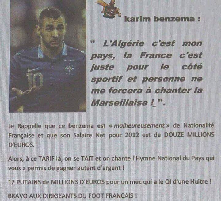 """BENZEMA: """"L'Algérie c'est mon pays, la France c'est juste pour le coté sportif et personne ne me forcera à chanter la Marseillaise!"""" 10505310"""