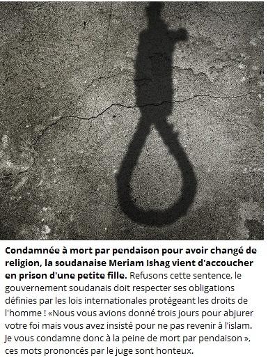 Comdamnée à mort pour refus de se convertir à L'islam au Soudan. 2014-010