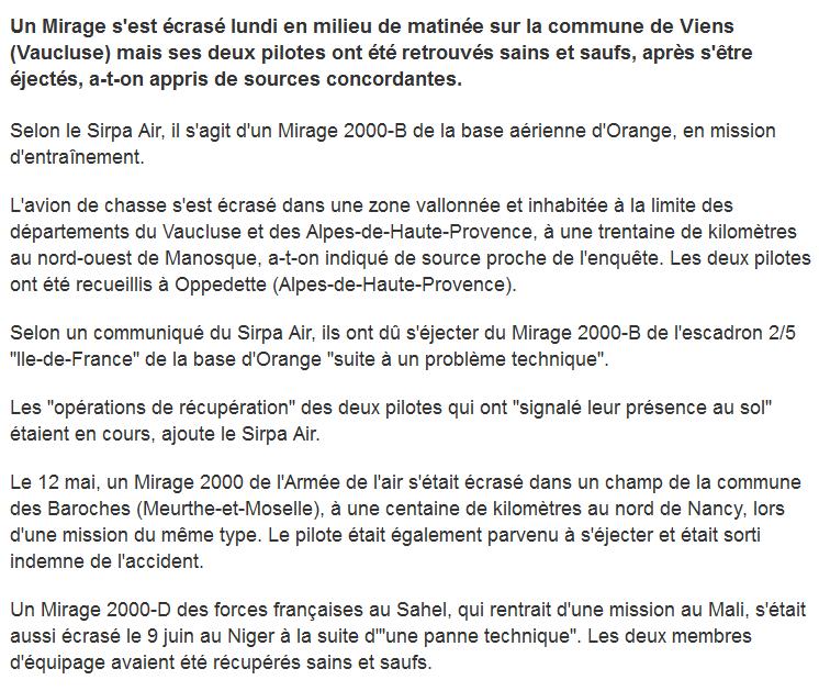 Un mirage tombe dans le Vaucluse, les pilotes sont saufs... 2014-025