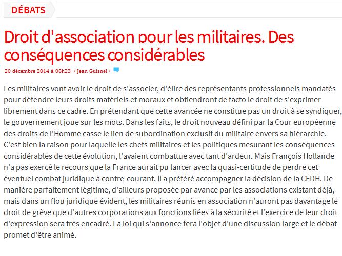 Droit d'association pour les militaires? 2014-113