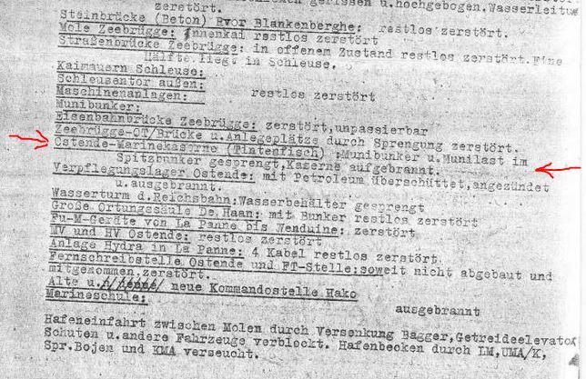 rapport destructions faites par les Allemands 1944 Casern13