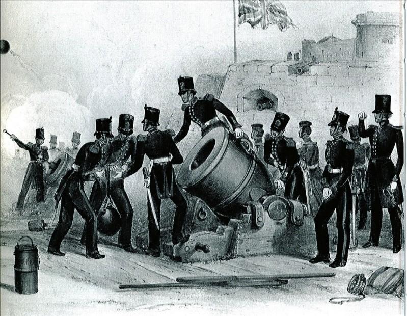 Mortier naval anglais de 10 pouces, sur affût de fonte Morier10
