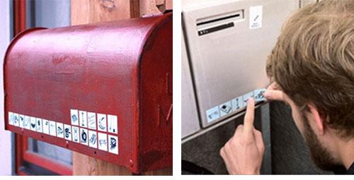 En Suisse, des stickers sur la boite aux lettres indiquent les objets que l'on veut bien prêter Etique11