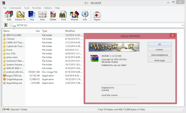 Phần mềm nén và giải nén WinRAR 5.11+key  Captur15