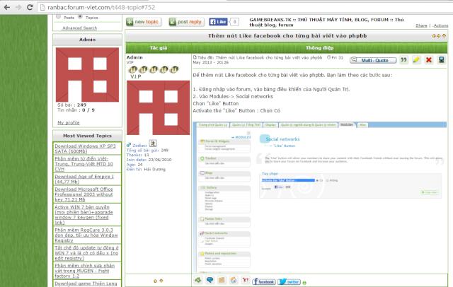 Thêm nút Like facebook cho từng bài viết vào phpbb Like110