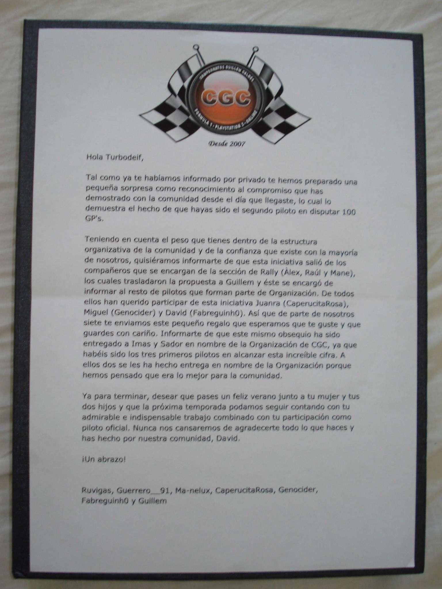 [Turbodeif] Placa conmemorativa 100 GPs. Gracias una vez más 710