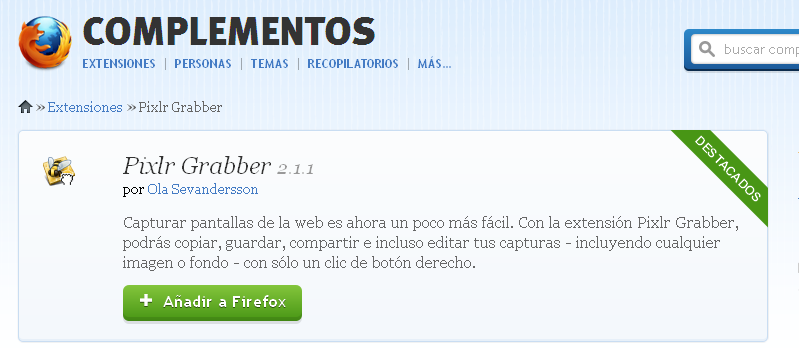 Capturas de pantalla con Pixlr Grabber [Extensión para Firefox] Addons12