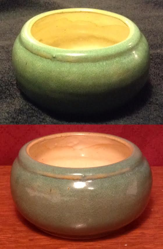 "I found a nice green bowl with ""yellow"" interior: similar to CL 40? Bowl10"