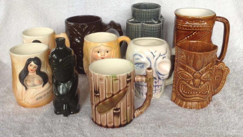 tiki mugs, Hawaiian style, including tiki farm and Studio Ceramics Tiki-m10