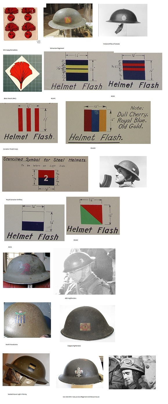 WWII Canadian Army helmet decals Candia12