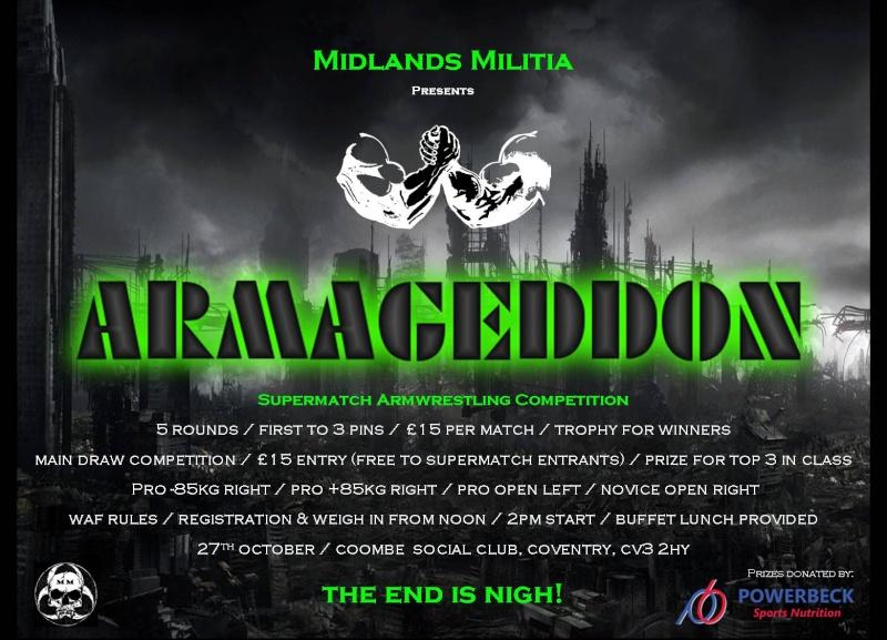Midlands Militia Presents - ARMAGEDDON - 27th 0ctober - Supermatch Armwrestling Competition Armage13