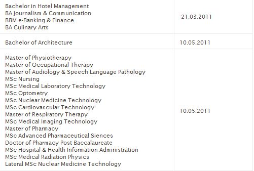 Last dates of receipt of applications Captur11