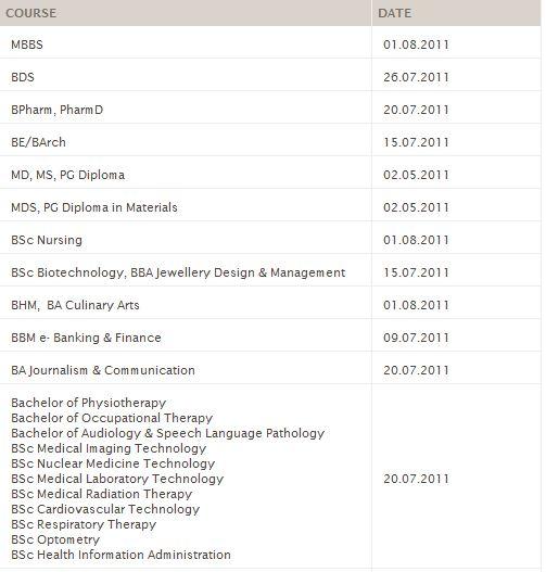 Dates for Commencement of classes Captur14