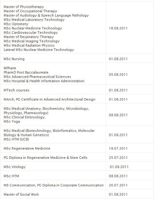Dates for Commencement of classes Captur15