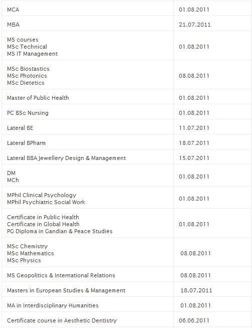 Dates for Commencement of classes Captur16