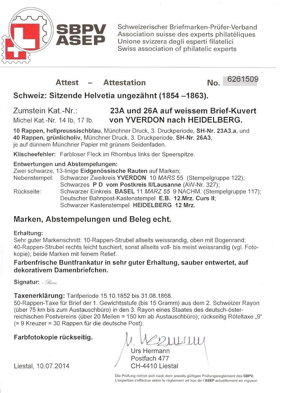 """Schweiz 1854-1863 """"Strubel"""" Sitzende Helvetia Ungezähnt Attest10"""
