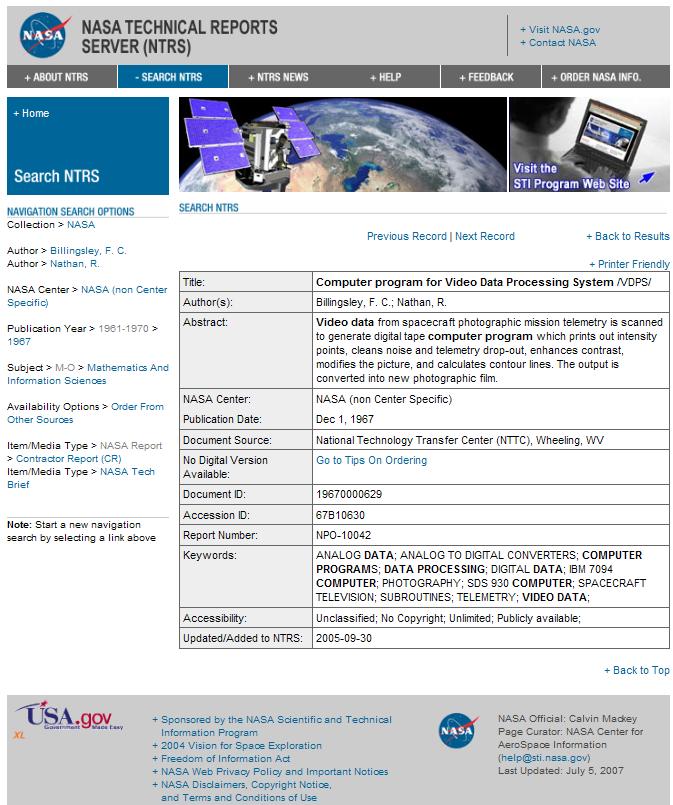 NASA Digital Image Manipulation History Ntrs10