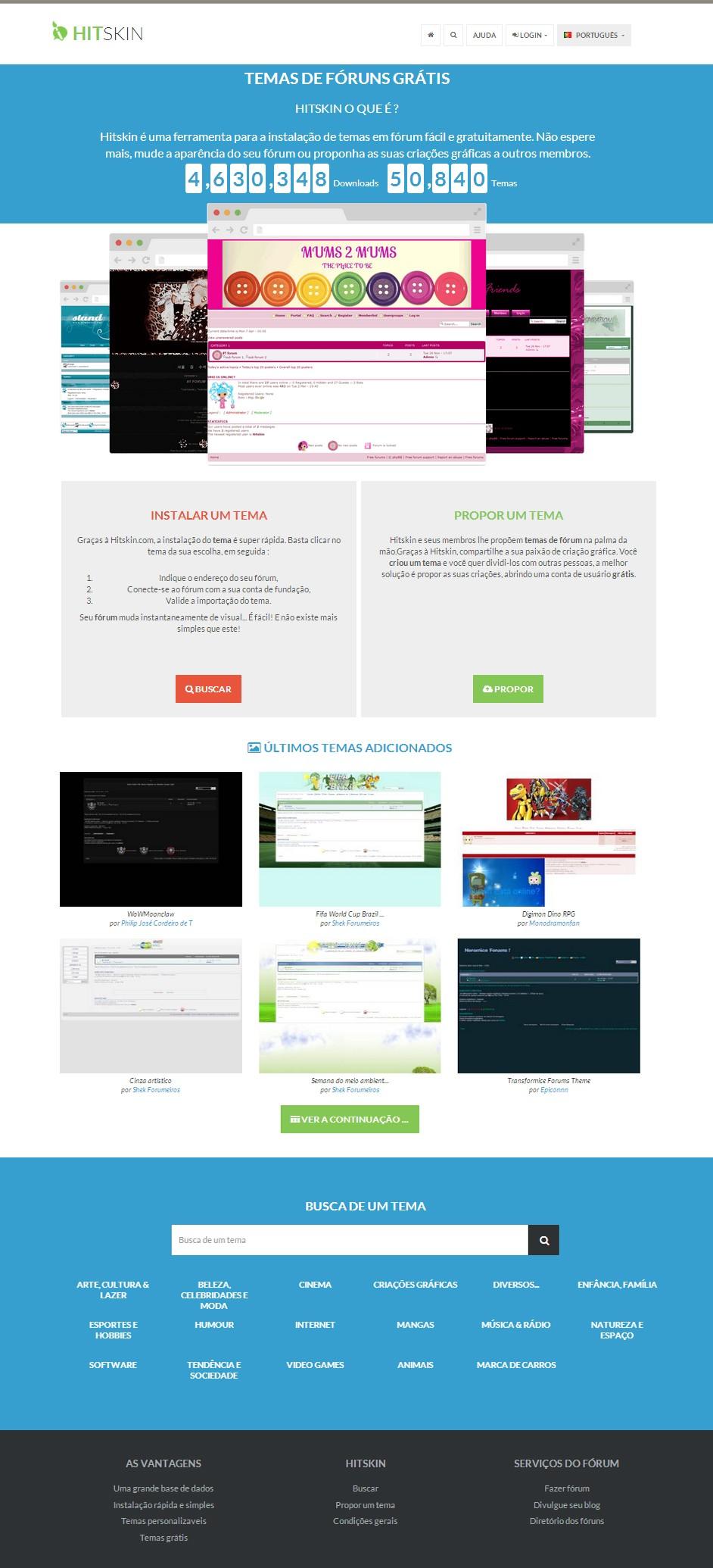 Novo design da página Hitskin Theme10