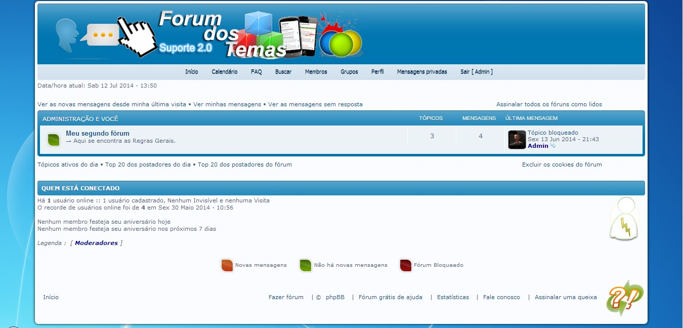 Suporte 2.0 + Barra de ferramentas Platium em PhpBB3 Theme110