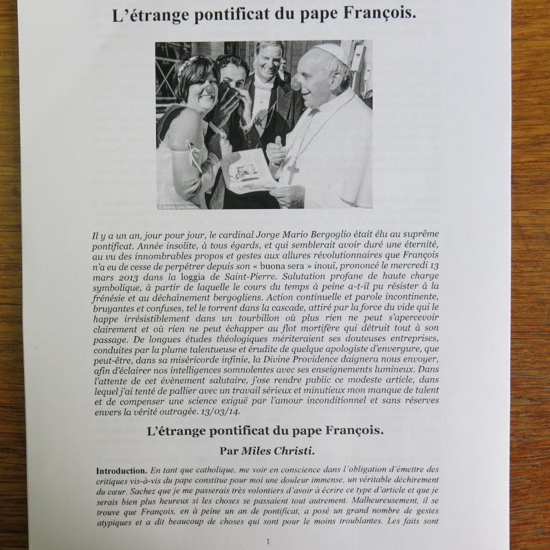 L'étrange Pontificat du Pape François - Un commentaire de Miles Christi ! Img_1422