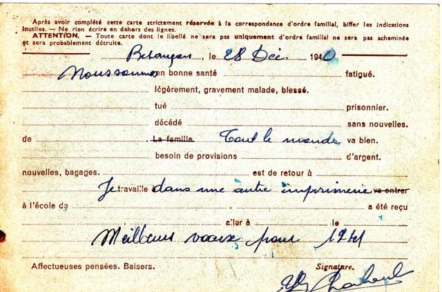 Les Cartes Postales familiales Interzones - Type Iris sans valeur - 1° modèle septembre 1940. Img_0011