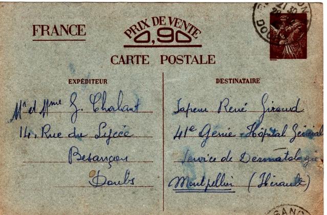 Les Cartes Postales familiales Interzones - Type Iris sans valeur - 1° modèle septembre 1940. Img_0012