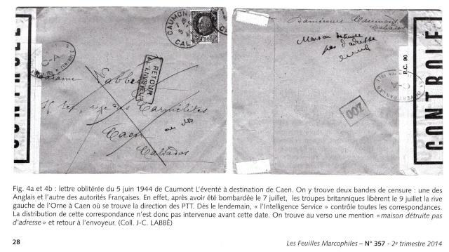 1944 une lettre contrôlée par la censure Norman10