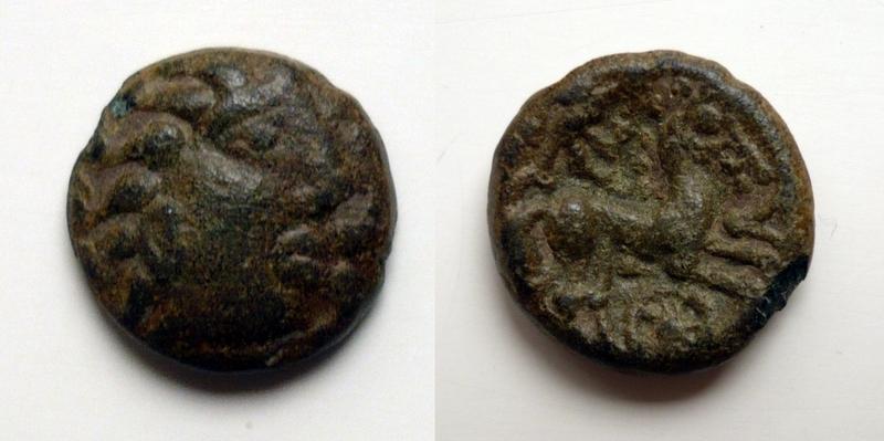 1/4 de statère en bronze éduen type de Chenoves 1a11