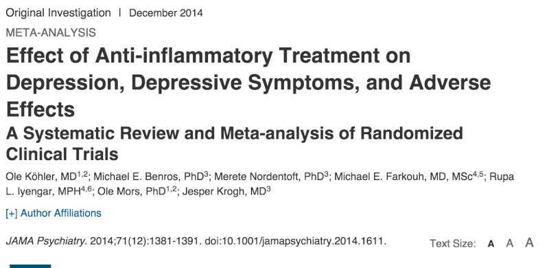 Anti-Inflammatory Treatment: Effect on Depression and Adverse Effects. Jama10