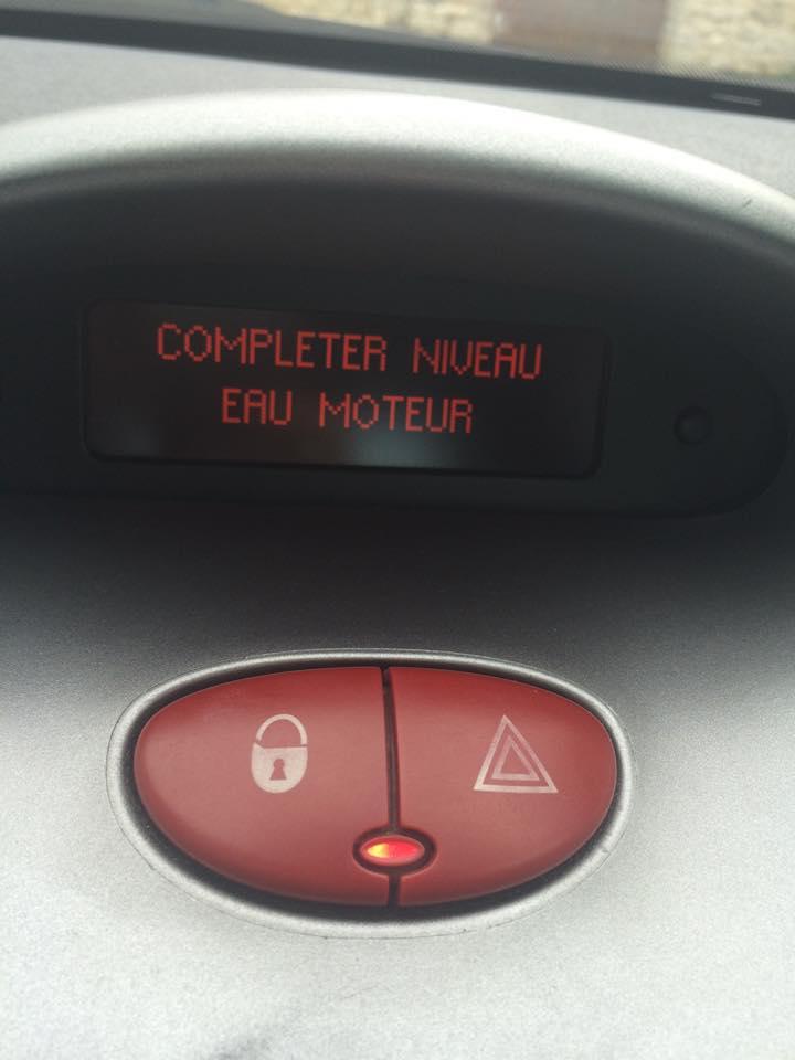 """[PROBLEME] message """"Completer Niveau Eau Moteur"""" sur ODB Niveau10"""