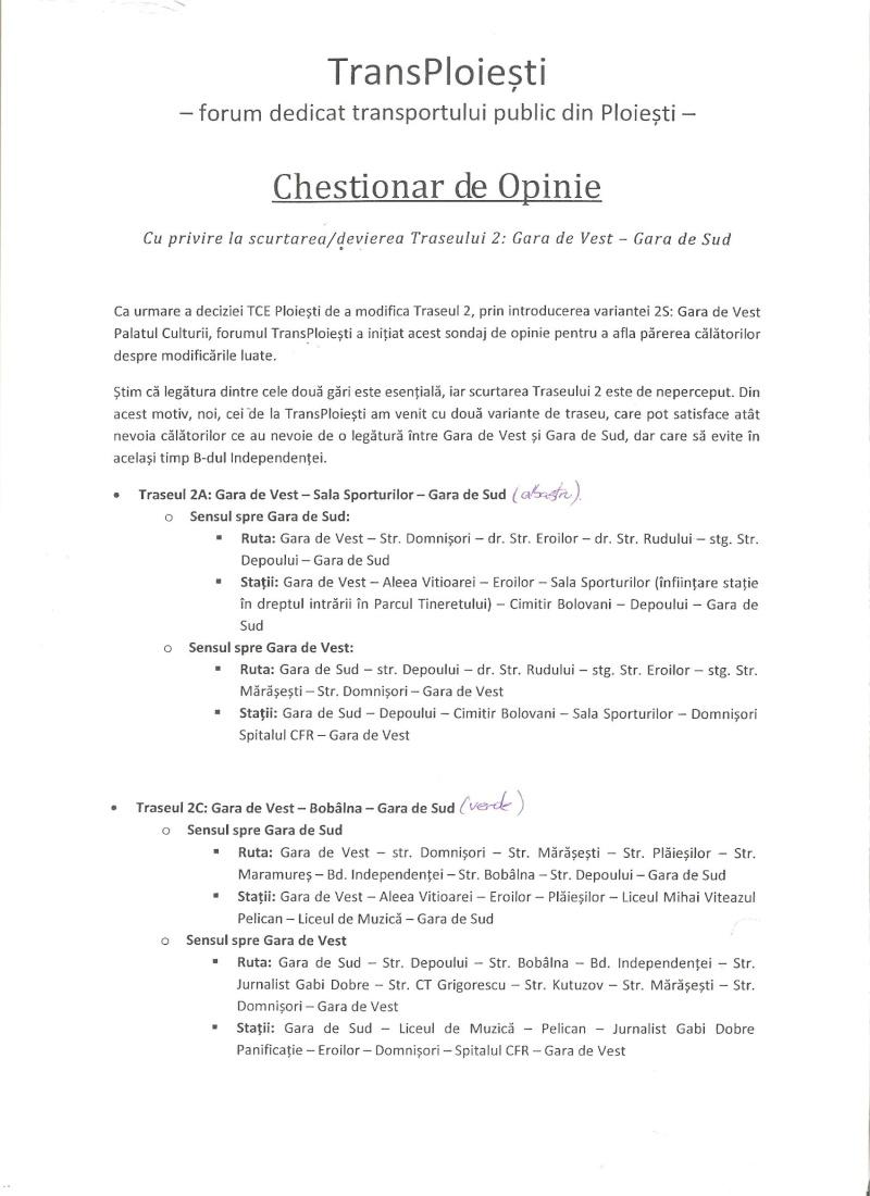 CHESTIONAR DE OPINIE: Scurtarea / Devierea traseului 2 112