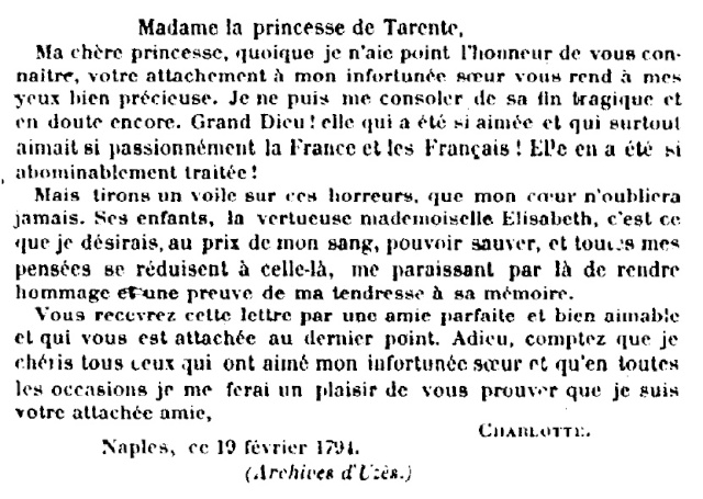 Lettre de la reine Marie-Caroline à la duchesse de La Trémoïlle, le 19 février 1794 Nouvel29
