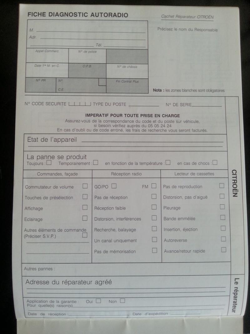 Fiche Diagnostique Autoradio  20140886