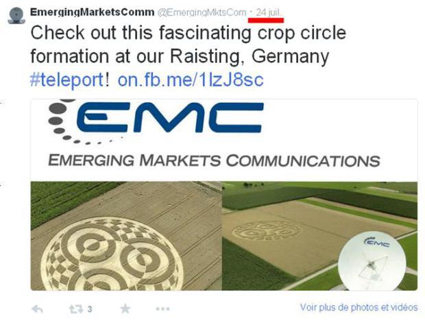 La plus grande station satellite d'Europe n'a pas vu qui a dessiné la figure géométrique au pied de ses antennes  Emc-cr10