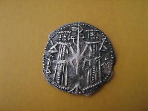 faux moderne d'un real espagnol et monnaie bulgare Byzant13