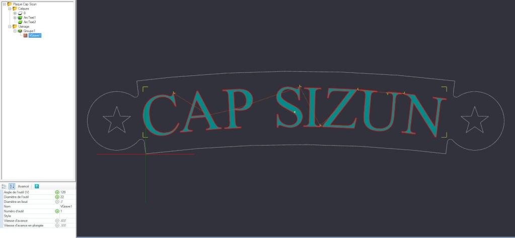 Gravure CNC avec V-Engrave d'une plaque de bateau. Captur32