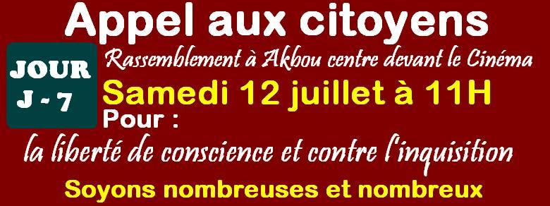 Akbou: Rassemblement pour la liberté de conscience et contre l'inquisition le samedi 12 juillet 2014 à 11h 10520061