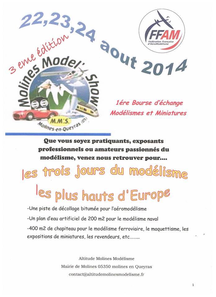 Le Salon molines model show 2014 aura lieu le : 22/23/24 aout à Molines-en-Queyras 05350 Hautes Alpes 10154910