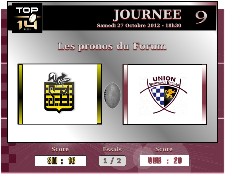 PRONOS 2012/2013 (J9) STADE MONTOIS  -  UBB J910